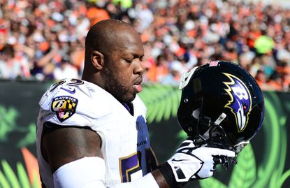 Ravens outside linebacker Terrell Suggs gets ready to face the Bengals at Paul Brown Stadium.