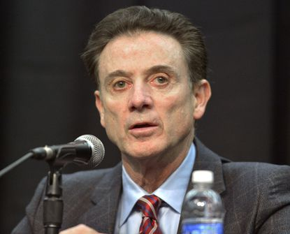 Louisville Coach Rick Pitino speaks to reporters on Feb. 5.