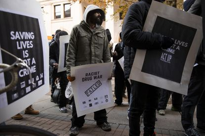 Protesters demonstrated last month in Philadelphia in support of opening supervised injection sites for drug users. A court ruling that such sites do not violate federal law has prompted a debate in Baltimore. (AP Photo/Matt Rourke)