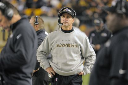 Ravens head coach John Harbaugh looks up at the scoreboard vs. the Pittsburgh Steelers at Heinz Field.
