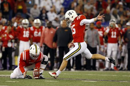 Maryland kicker Brad Craddock (15) kicks a field goal in the second half of an NCAA college football gameagainst Penn State, Saturday, Oct. 24, 2015, in Baltimore.