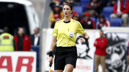 Line official Kathryn Nesbitt watches play during a match between Real Salt Lake and the New York Red Bulls on March 25.
