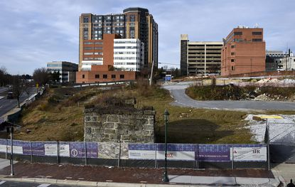 Towson, MD--December 2, 2016--This is a view of the Towson Row development area in downtown Towson. Barbara Haddock Taylor