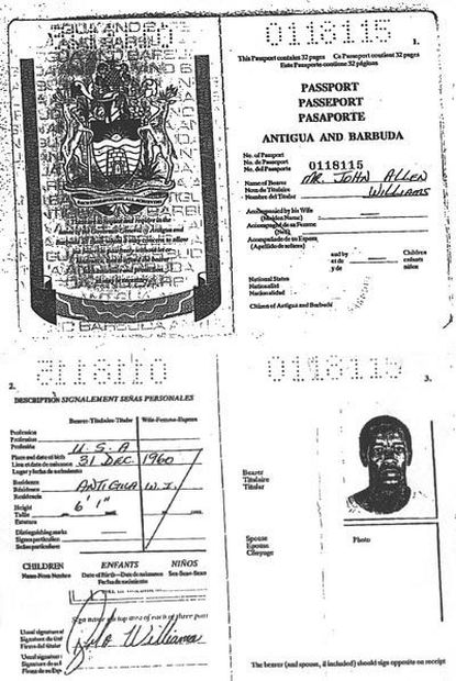 John Allen Muhammad, 41, one of the two suspects in the sniper shootings, obtained this Antiguan passport in 2000 using forged documents, officials say. He substituted the name of an Antiguan woman for that of his real mother. It was in Antigua that he apparently met Lee Boyd Malvo, 17, the other suspect.
