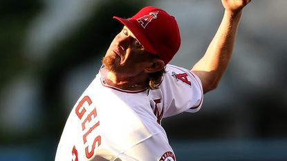 Angels starter Jered Weaver delivers a pitch during the team's 7-1 loss to the Oakland Athletics on Wednesday.