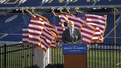 John McCain spoke about public service in his visits to his alma mater in Annapolis.