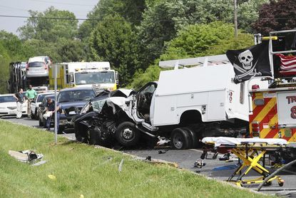 Joppa-Magnolia, Bel Air and Fallston fire companies responded to a multiple car accident at Route 152 and Reckord Road Tuesday. Two people died and two were seriously injured, police said.