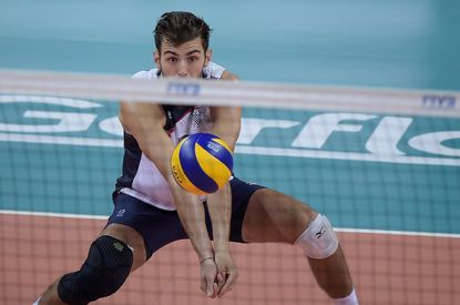 Aaron Russell of Team USA competes against Brazil on the FIVB World League 2016 - Day 3 at Carioca Arena 1 on June 18 in Rio de Janeiro.