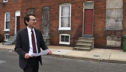 """Michael Braverman tours the 2200 block of Prentiss Place in East Baltimore. He was recently fired by Mayor Bernard C. """"Jack"""" Young as housing commissioner."""
