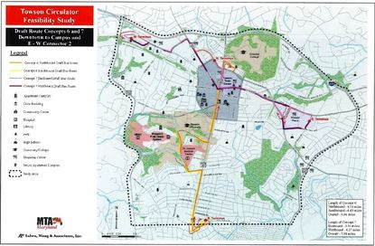 The proposed route for the Towson Circulator, a free bus system proposed by Councilman David Marks that would shuttle people to and from downtown Towson. Map included in a 2015 feasibility study by the Maryland Transit Administration. - Original Credit: