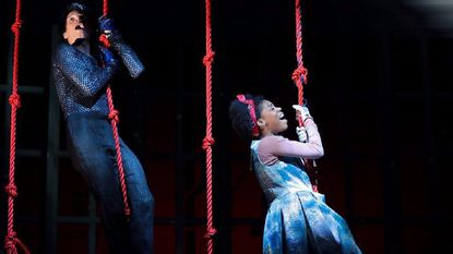 "David Darrow, left, and Markita Prescott in ""Lookingglass Alice"" at Center Stage."