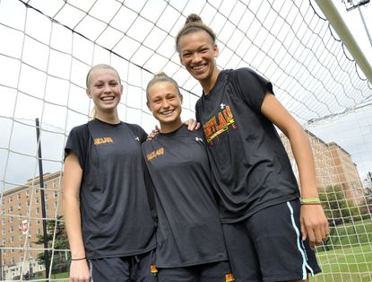 Maryland freshman women's soccer players Ashley Spivey, Riley Barger and Alexis Prior-Brown are among the team's top contributors.