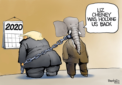 Rep. Liz Cheney was holding the Republican Party back? (Bill Bramhall/New York Daily News).