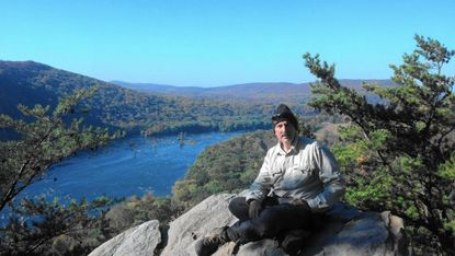 Rick Rippeon on a Weverton Cliff hike, overlooking Harpers Ferry, WV and the confluence of the Potomac and Shenandoah Rivers in October 2012.
