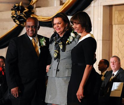 """Left to right: City Council President Bernard """"Jack"""" Young, Council Vice President Sharon Green Middleton and Mayor Catherine Pugh at the 72nd Baltimore City Council swearing-in ceremony at the War Memorial Building. All will receive raises on Jan. 1."""