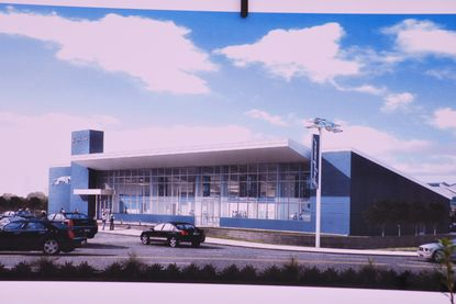 This is rendering of a station which the new Baltimore Greyhound terminal will look similar to.