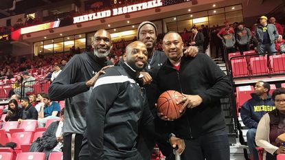 Former Maryland players Joe Smith, Keith Booth, Rodney Elliott and Johnny Rhodes, part of the program's turnaround under Gary Williams in the mid-1990s, were among more than two dozen former Terps who were part of the program's 100-year celebration. (Don Markus/Baltimore Sun)