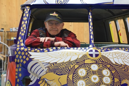 Groovy! VW bus headed from Baltimore to Woodstock, with love and peace