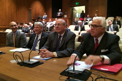 Panel gathers to testify in favor of legislation recommended by a commission headed by former Lockheed Martin CEO Norman Augustine. They are, from left, commission member Josh Greene; House Speaker Michael E. Busch; Augustine and Senate President Thomas V. Mike Miller. Michael Dresser/Baltimore Sun