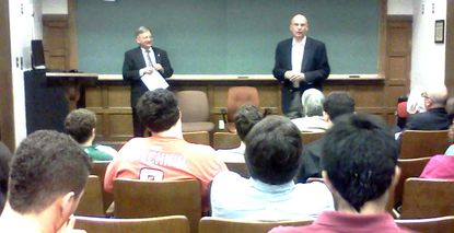Maryland State Senators Joe Getty, left, and Ed Kasemeyer field questions from McDaniel College students in a presentation, ¿So What Just Happened: A Report from Annapolis.¿