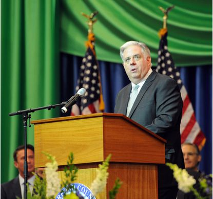 Gov.-elect Larry Hogan speaks at the Inauguration for Harford County Executive Barry Glassman.
