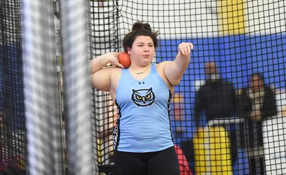 Westminster's Katie Devilbiss gets set to throw in the 3A girls shot put competition, taking second place in the event, during the MPSSAA Indoor Track State Championship Meet at Prince George's Sports Complex on Tuesday, Feb. 18.