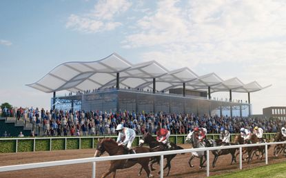 Maryland lawmakers are considering a $375 million plan to renovate Pimlico Race Course in Baltimore and Laurel Park in Anne Arundel County. This rendering shows what the Preakness Stakes race might look like at a renovated Pimlico.