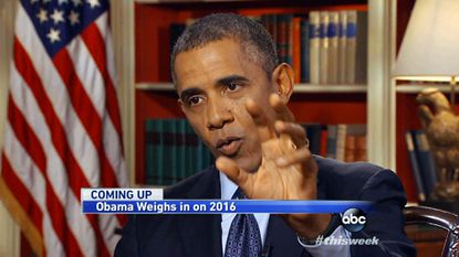 "In this image from video pre-taped at the White House on Friday for airing Sunday morning on ABC's ""This Week,"" President Barack Obama answers questions about Syria, the economy and other pressing national and international issues during an interview with George Stephanopoulos."