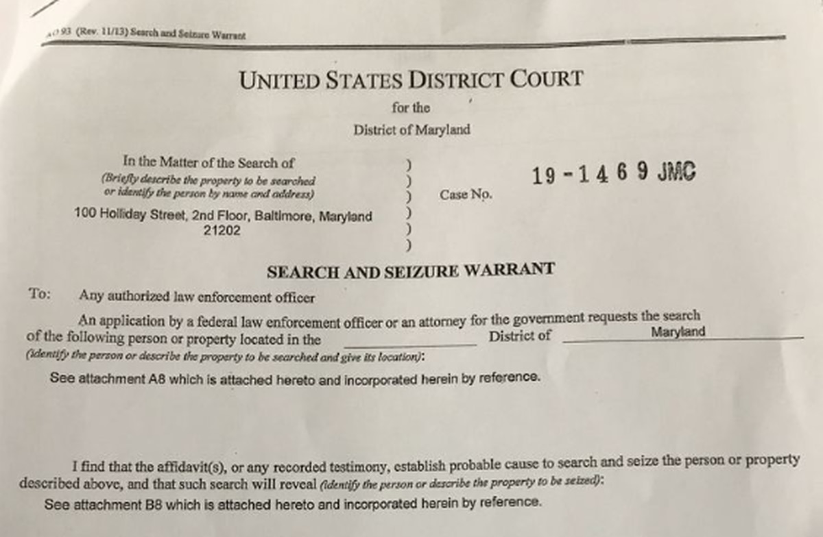 Catherine Pugh Search and Seizure Warrant Inventory