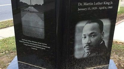 A new monument to Martin Luther King Jr. is now in Laurel Memorial Gareden.
