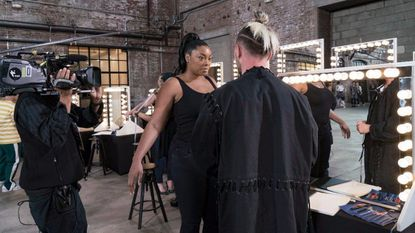 "Model Liris Crosse works with designer Brandon Kee on the premiere of ""Project Runway."""