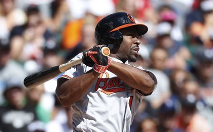Michael Bourn hits a two-run home run against the Tigers in the third inning.