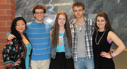 These Century High School students will be competing in the 12th annual Century Idol event at 7 p.m. Saturday, May 2, at the school. From left: junior Kylie Cooley, senior Garrett Mabe, sophomore Talia Hall, senior Sam McIntire and senior Dani Diorio.
