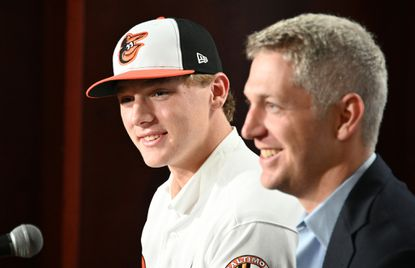 Baltimore Orioles' 2019 second round draft selection Gunnar Henderson, left, poses for pictures with Ex. VP. Mike Elias during a news conference at Oriole Park at Camden Yards.