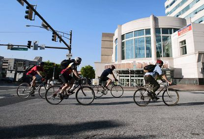 A Maryland Bikeways Program grant awarded on Wednesday will fund 4.5 miles of extensions to the Towson Bike Beltway currently under construction. Here, cyclists ride through downtown Towson on Bike to Work Day in May.
