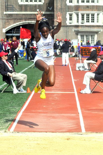 Coppin State track athlete Christina Epps competes at the 2014 Penn Relays.