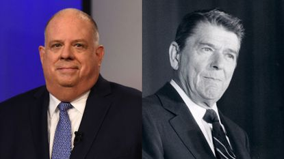 Maryland Governor Larry Hogan, left, has several times mentioned President Ronald Reagan, right, as the kind of president the nation needs. But was he according to his record?