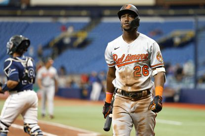 Jorge Mateo of the Baltimore Orioles reacts after being struck out to end the game and lose to Tampa Bay Rays by a score of 7 to 2 at Tropicana Field on August 19, 2021 in St Petersburg, Florida. (Photo by Douglas P. DeFelice/Getty Images).