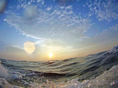 The sun rises on the Chesapeake Bay.