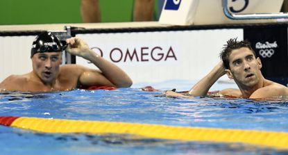Ryan Lochte, left, and Michael Phelps after a 200-meter individual medley semifinal during the Rio Olympics.