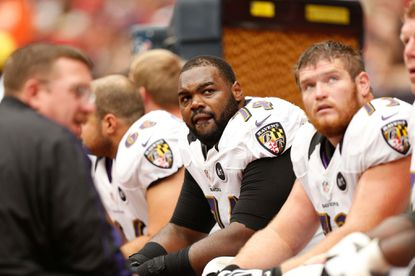 Ravens tackle Michael Oher is seen here on the sidelines against the Houston Texans in October.