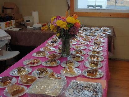 On Feb. 25, the Morgan Chapel United Methodist Church hosted a Shrove Tuesday Pancake Dinner. The bake table is pictured.