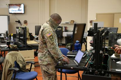 Soldiers from the Maryland Army National Guard 58th Troop Command Headquarters and Headquarters Detachment use CRSSTALK, on May 7, in Adelphi. This map-based, situational awareness software application can be used across multiple platforms (smartphones, servers, computers, etc.) to provide tactical capabilities for military and federal government operations. The unit is providing feedback as part of a CRSSTALK pilot to enable the Army to continue to enhance capability.