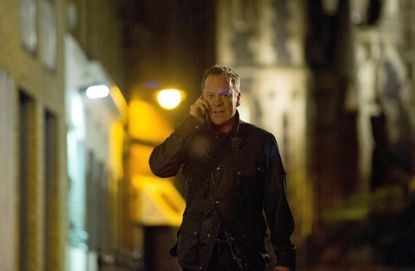 """Jack (Kiefer Sutherland) chases after Navarro in """"24: Live Another Day."""""""